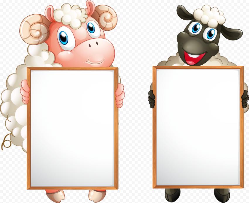 Standing Up Cartoon Black & White Sheep