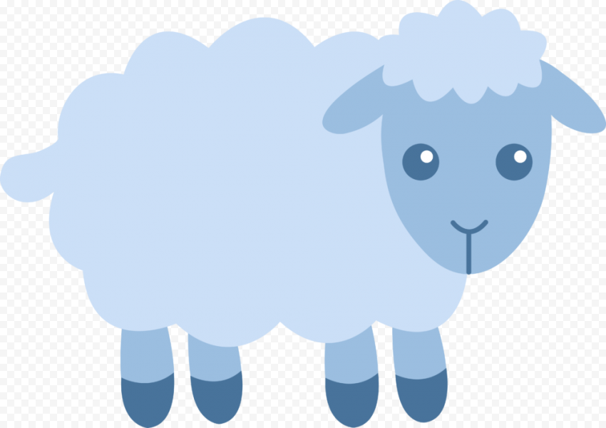 Cute Blue Sheep Clipart Icon