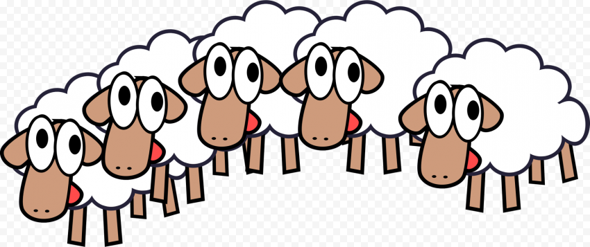 Cartoon Group Of Sheep Clipart