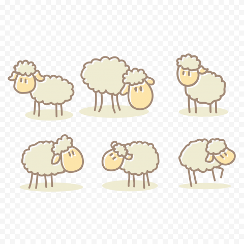 Cartoon Group Of Sheep Character Clipart