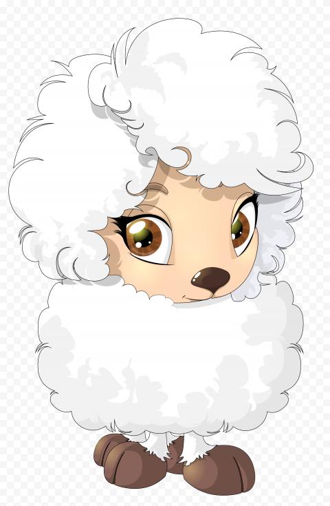 Cute Lamb Sheep With Hair Cartoon