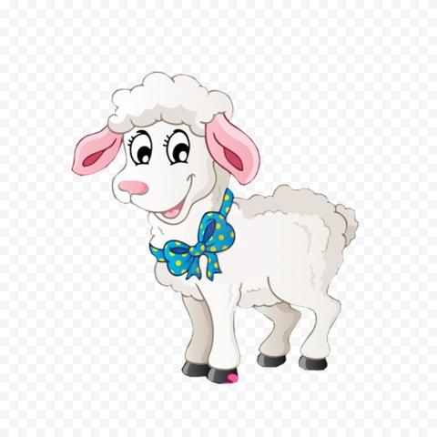 Happy Cute White Sheep Cartoon