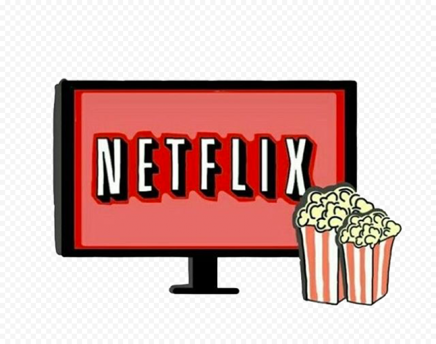 Tv Icon With Pop Corn And Netflix Logo