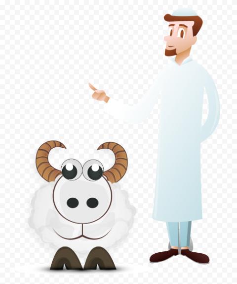 Eid Adha Sheep With Muslim Person Cartoon