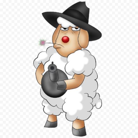 Angry Standing Up Sheep Take Bomb Cartoon