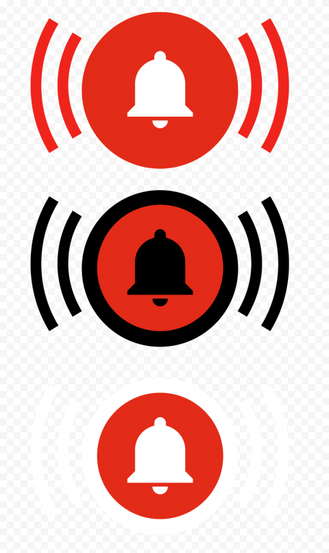 Group Of Youtube Bell Notification Buttons