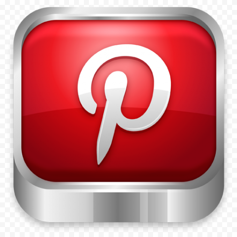 3D Pinterest App Icon Metal Border Effect