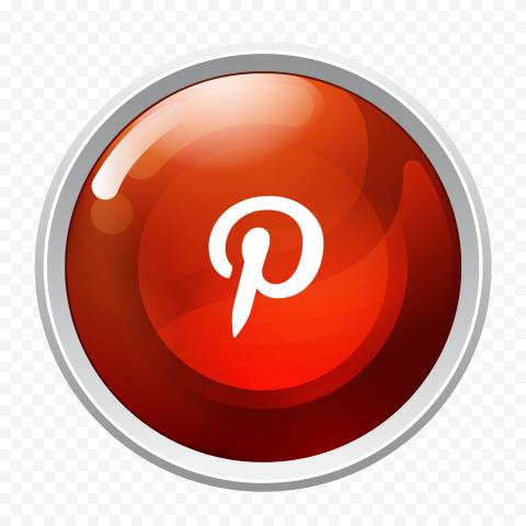 Pinterest Round Button Contains White P Symbol