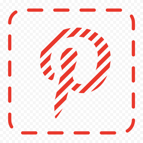 Square Red Pinterest Icon Dotted Outline Border