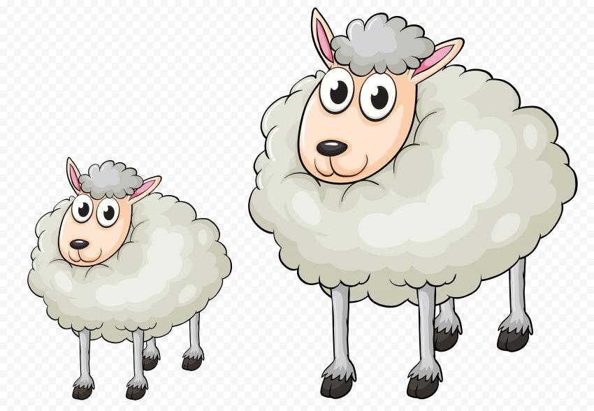 Two Cartoon Vector Sheep Clipart