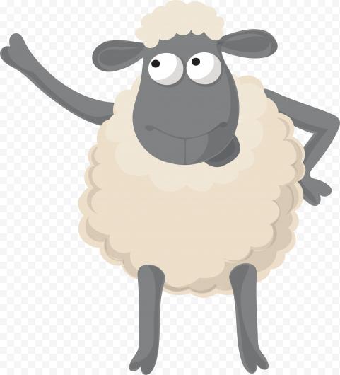 Standing Up Cartoon Sheep Illustration