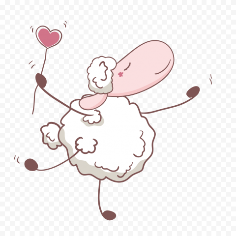 Hand Drawn Happy Cartoon Sheep