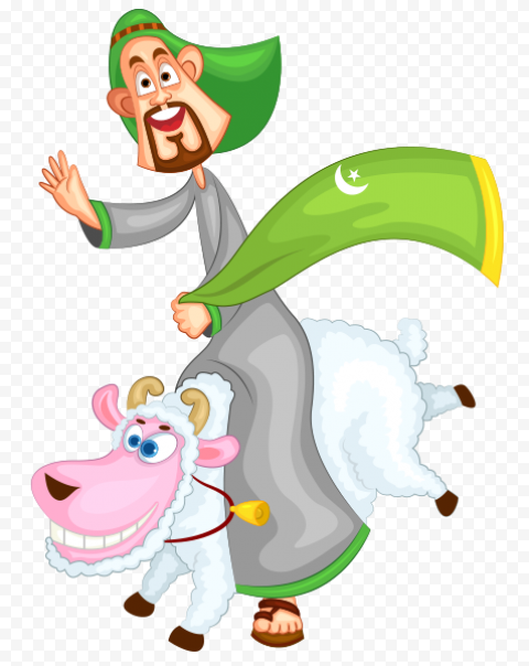 Happy Muslim Person With Smiling Cartoon Sheep