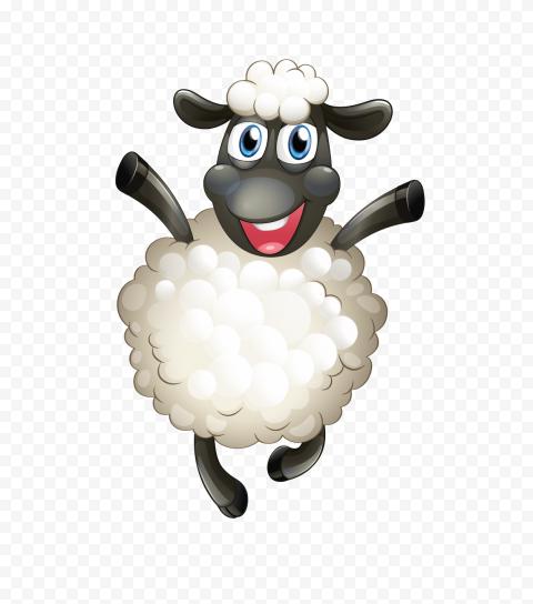 Happy Jumping Cartoon Sheep Illustration
