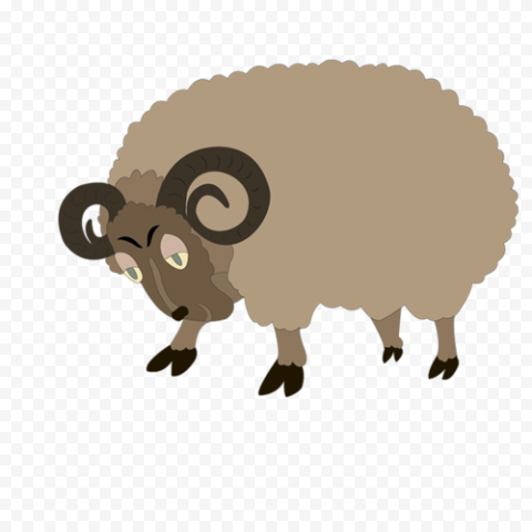 Brown Cartoon Sheep With Wool Clipart