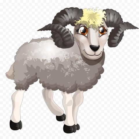 Clipart Cartoon Sheep With Horns Illustration