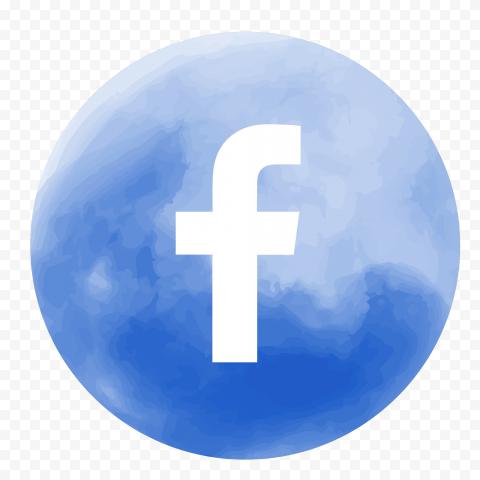 Round Facebook Icon Logo Watercolor Effect