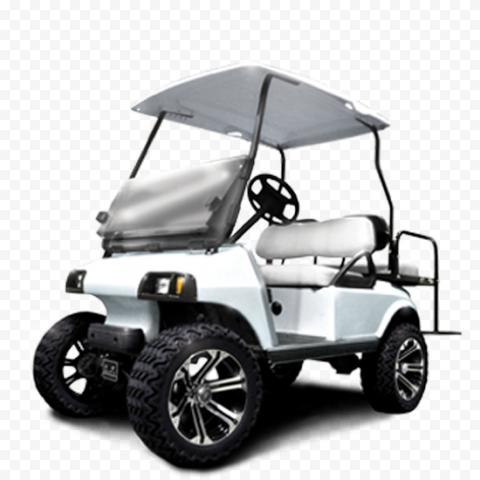 White Golf Buggies Cart Car Vehicle Corner View
