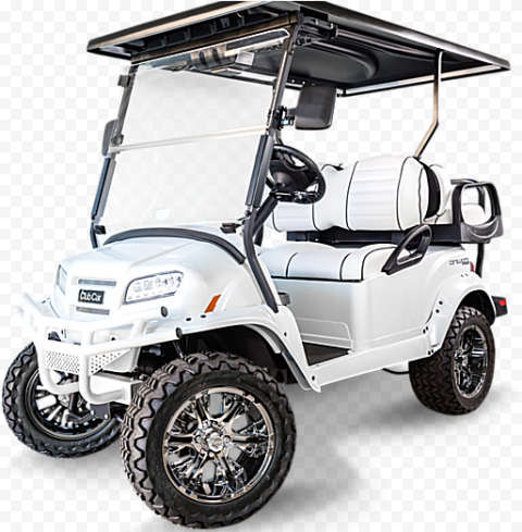 White Golf Buggy Cart Vehicle Corner Front View