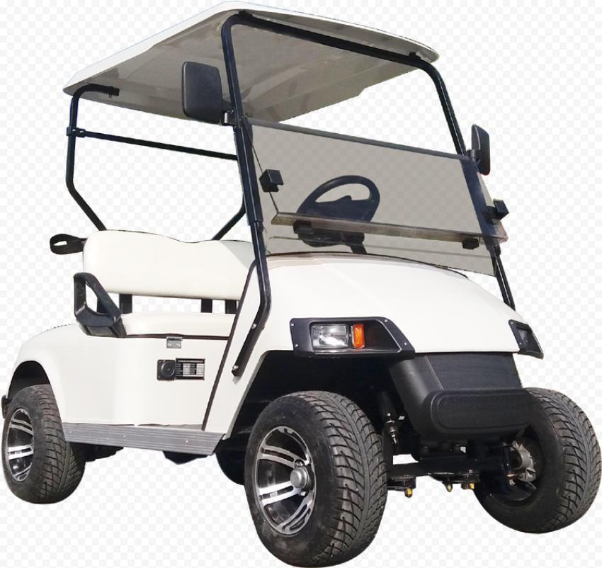 White Golf Buggies Cart Corner Front View