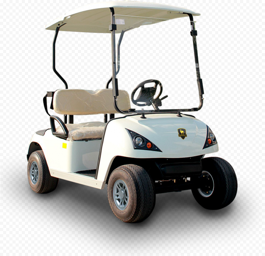 Golf Buggies White Cart Corner Front View