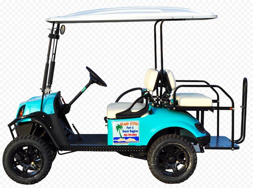 Turquoise Golf Buggy Cart Vehicle Side View
