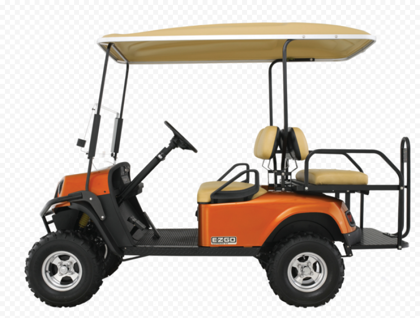 Orange Golf Buggy Cart Vehicle Side View