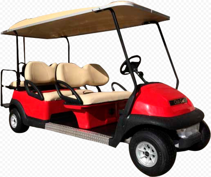 Red And Beige Golf Buggy Cart Limo 6 Passengers