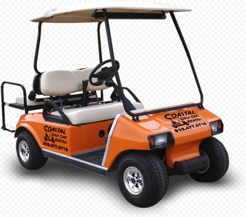 Orange Golf Buggy Cart Two Passengers