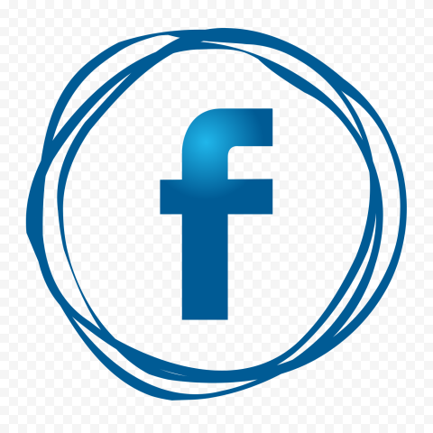 Outline Blue Scribble Pencil Effect Facebook Icon