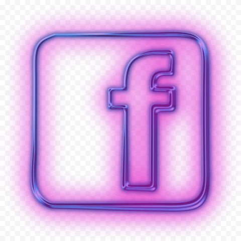 Pink Neon Facebook Icon Light