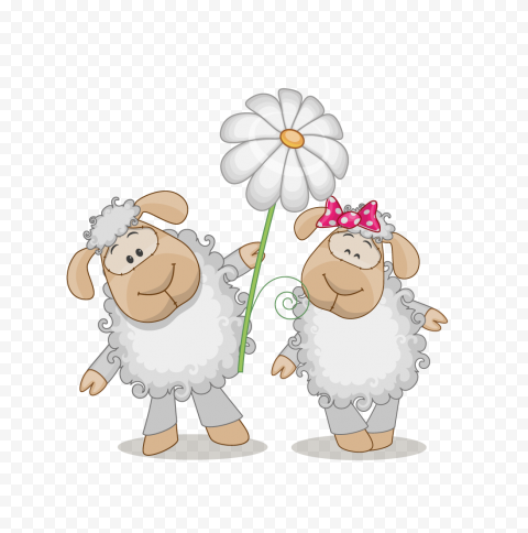 Two Cute Cartoon Sheep