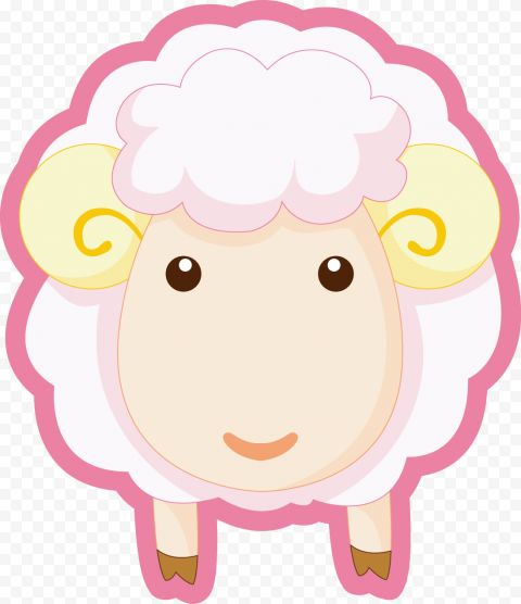 Cartoon Sheep Front View Sticker Style