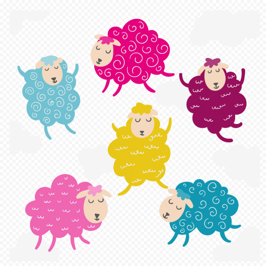Group Of Colored Sheep Illustration Background
