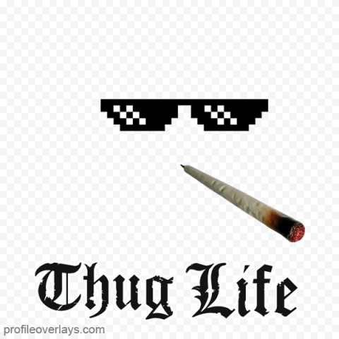 Sunglasses Thug Life With Joint & Text Logo
