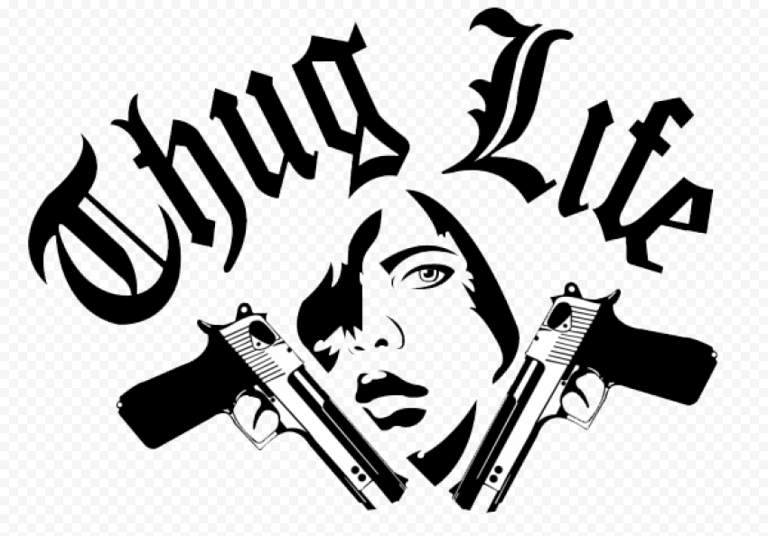 Thug Life Graffiti Logo Two Gun