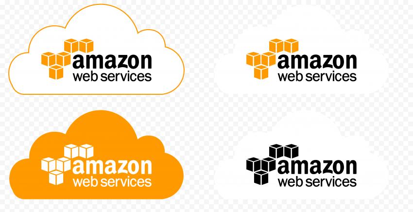 Set Of Amazon AWS Logos With Cloud Icon