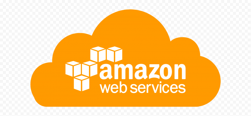 Orange Cloud Contains White Amazon AWS Logo