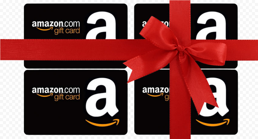 Group Of Amazon Gift Cards With Red Ribbon