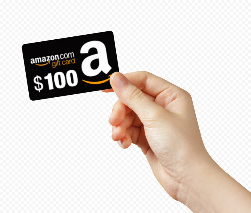 Woman Hand Hold Amazon 100$ Gift Card