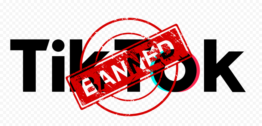 Tiktok Text Logo With Banned Stamp Sign