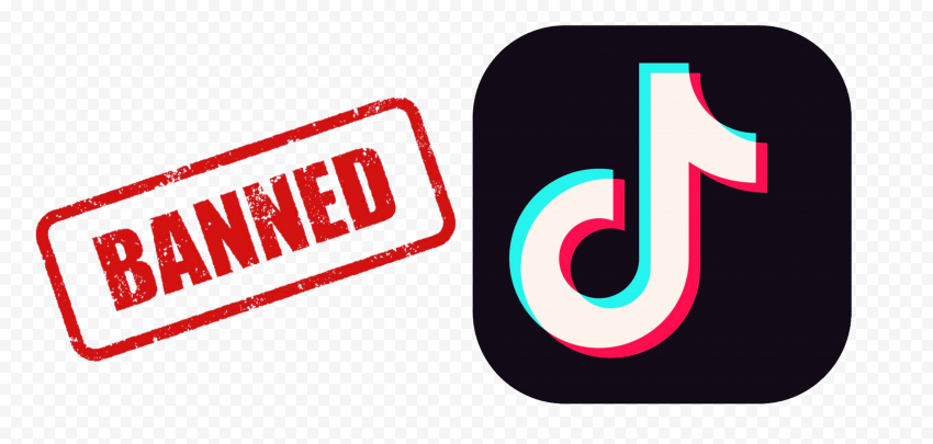 TikTok Square App Logo With Red Banned Sign