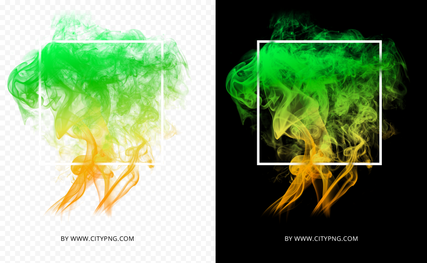 Green Abstract Colorful Smoke With White Frame HD