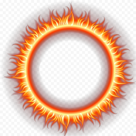 Round Shape Frame Border Fire Flames Illustration