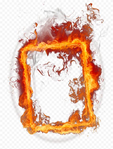 Square Outline Frame Flame Fire Border