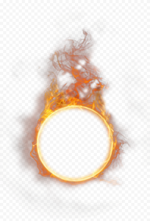 Round Circle Outline Frame Flame Fire With Smoke