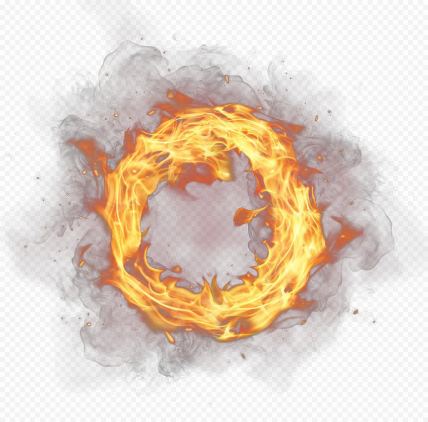 Outline Circle Frame Border Flame Fire With Smoke