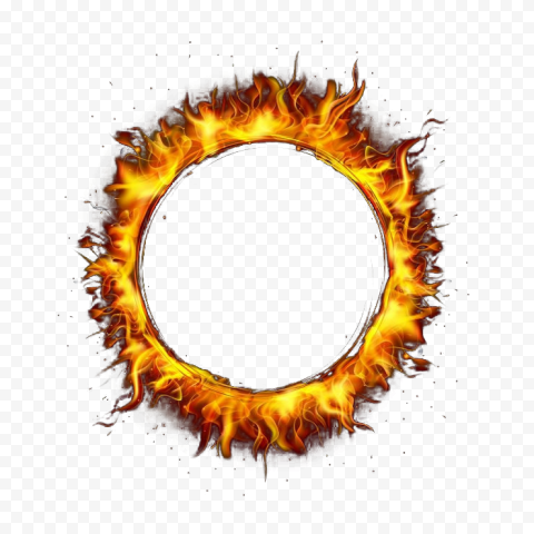 Round Outline Frame Border Fire Flame