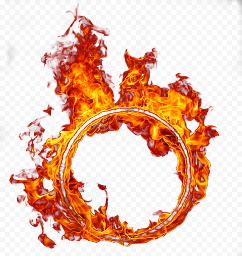 Round Circle Surrounded Fire Flame Outline Frame