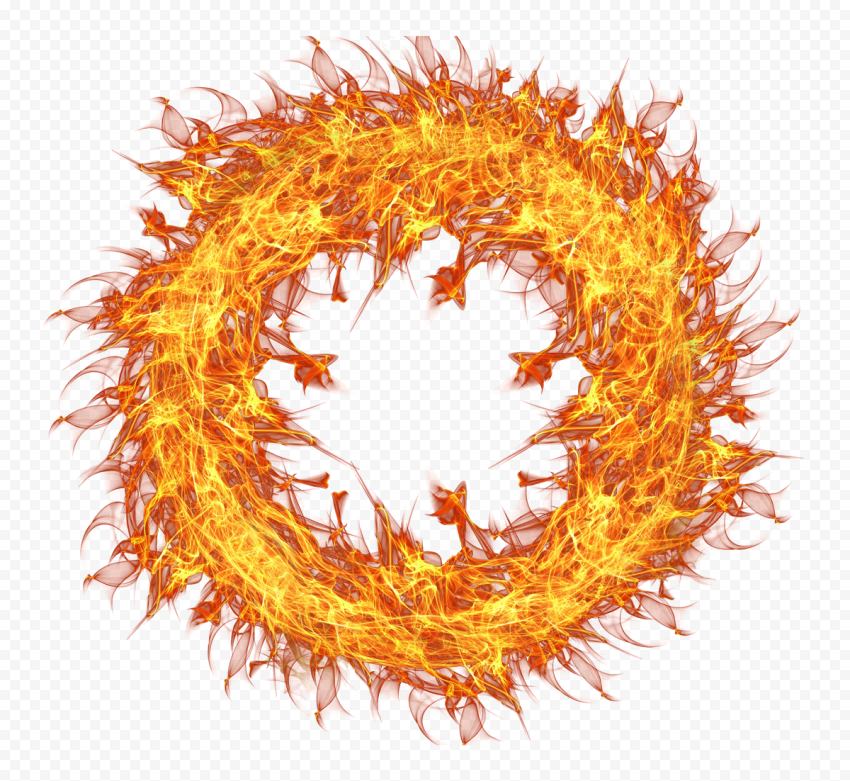 Sun Gold Circle Outline Fire Flame Effect